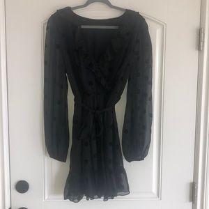 Give dolls black wrap dress size large never worn